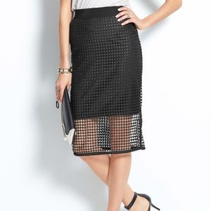 Ann Taylor Black Illusion Pencil Skirt